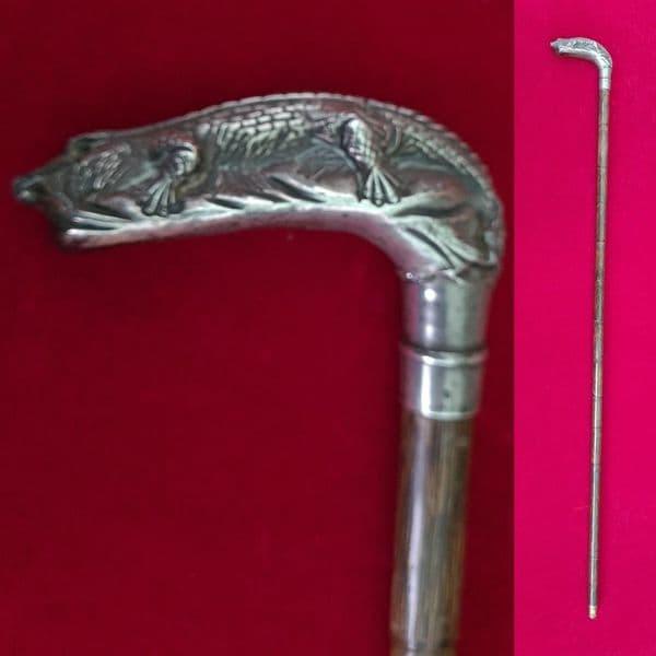 A fine antique silver hallmarked figural crocodile (BATTLE OF NILE) walking cane.  C.1880.  Ref 3098
